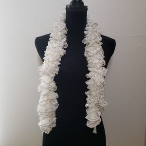 White Lace Ruffle & Sequin Scarf